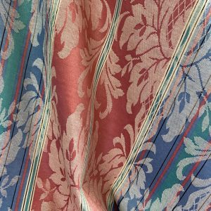 Coral Denim And Mint Damask Fabric