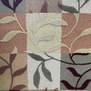 Multi Coloured Leaf Sculpted Rug
