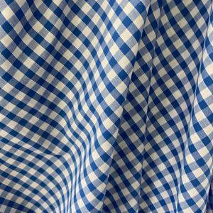 Navy Gingham Cotton Fabric