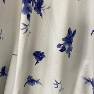 White And Violet Floral Cotton Fabric