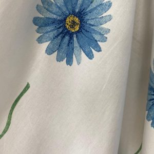 White Cotton With Daisy Print
