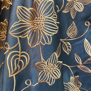Chocolate With Orange Embroidered Floral Fabric