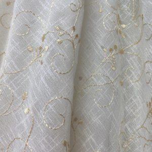 Dark Cream Embroidery On Pale Cream Voile Fabric