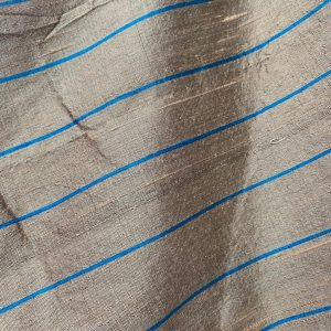 Dark Taupe Silk With A Turquoise Stripe Fabric