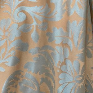 Duck Egg Blue Damask On Gold Fabric