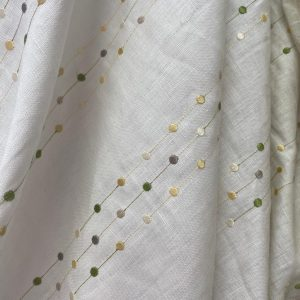 Linen With Lime And Lemon Pale Grey Spot Design Fabric
