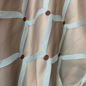 Mint And Chocolate Patterned Upholstery Weight Fabric