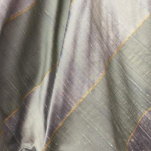 Pale Greens And Gold Striped Silk Fabric